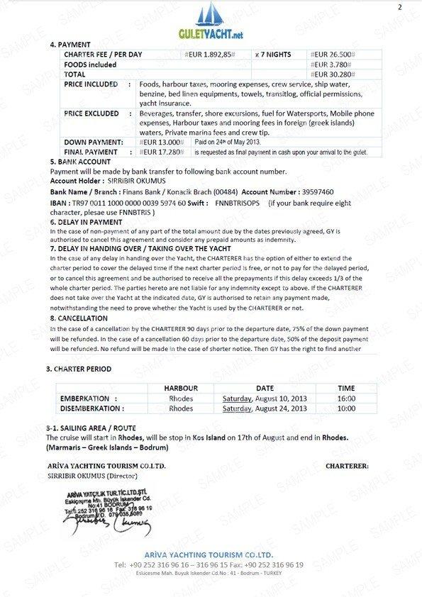 Yacht Charter Vereinbarung Guletyachtde